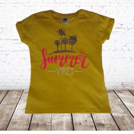 Meisjes T-shirt Summer Vibes geel