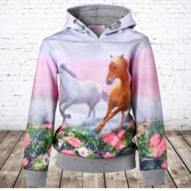 Grijze hoodie met paarden f48