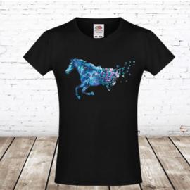 Zwart tshirt met paard