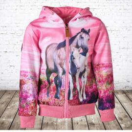 Roze vest met paarden print