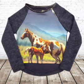 Blauwe  trui met paardenprint
