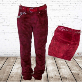stoere velours meisjes broek rood 12