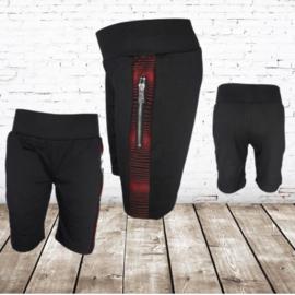 Korte broek jongens zwart rood