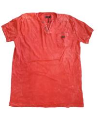 Heren shirt denim oranje