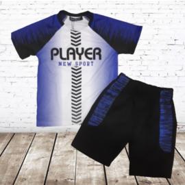 Trainings set zwart blauw player