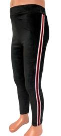 Velours legging met streep zwart 98/104
