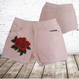 Short met bloem roze