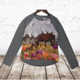Grijs shirt met bruin paard