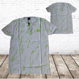 Heren t shirt wit met fel groen
