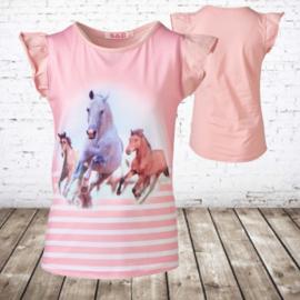 Paarden shirt roze met kapmouw F15