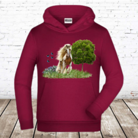 Bordeaux rode hoodie met paard