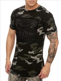 Heren tshirt Exploration  army zwart S