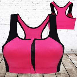 Sportbeha met rits Zwart roze