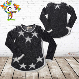 Zwarte meisjes trui met ster 146/152
