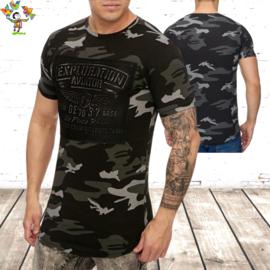 Heren tshirt Exploration  army zwart