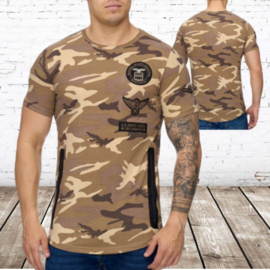 T-shirt heren army bruin eagle 882