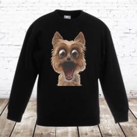 Zwarte sweater met grappige hond