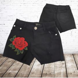 Short met bloem zwart