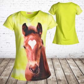 Lang meisjes shirt paard felgeel