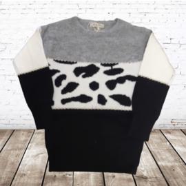 Meisjes trui met print  P807 zwart