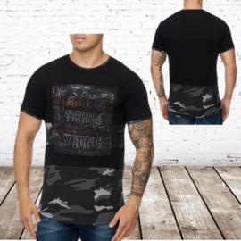 Mannen t shirt Never army zwart  944