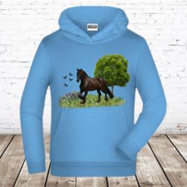Lichtblauwe hoodie met paard