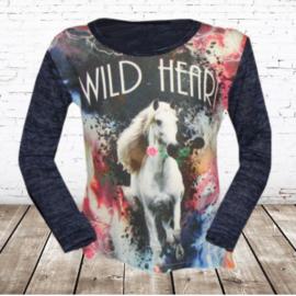 Shirt met paard Wild heart blauw