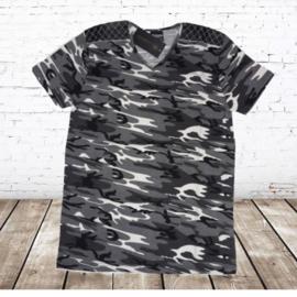 Heren shirt Army zwart wit