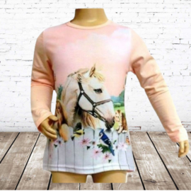 Meisjes shirt paard met vogels en poes zalm