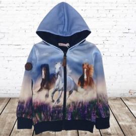 Vest met paarden lichtblauw