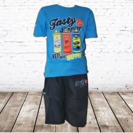 Shirt en korte broek paint blauw 86/92