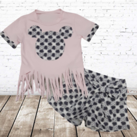 Meisjes shirt met short M zacht roze