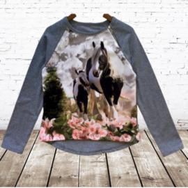 Shirt met paard grijs