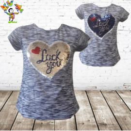 Meisjes t-shirt Luck blauw 98/104