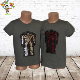 Kinder t shirt robot groen 110/116
