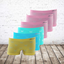 Meisjes boxershorts vlinders zachte kleuren 6-pack
