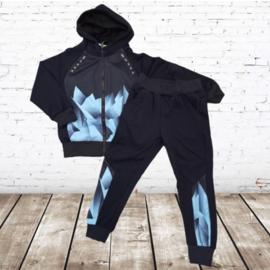 Trainingspak Zwart blauw K598