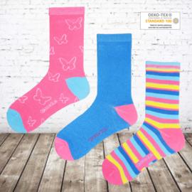 Meisjes sokken vlinder 12 paar voordeelpak