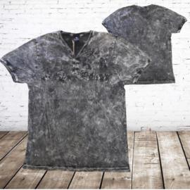 Heren t-shirt met v-hals  zwart