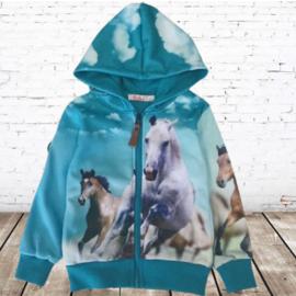 Vest met paarden print blauw