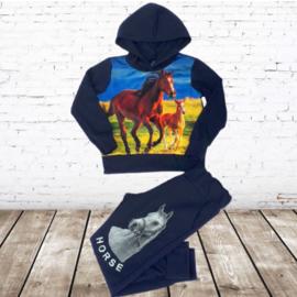 Joggingpak met paarden blauw