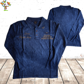 Heren Polo jeans donkerblauw M