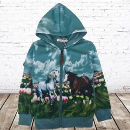 Blauw vest met paarden print