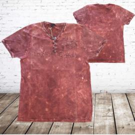 Heren t-shirt met v-hals rood