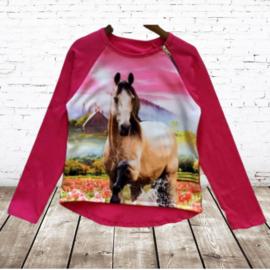 Shirt met paard hard roze
