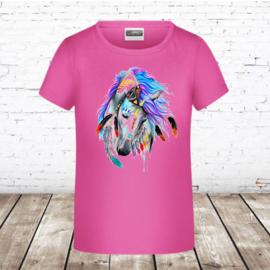 Roze t-shirt met paarden hoofd