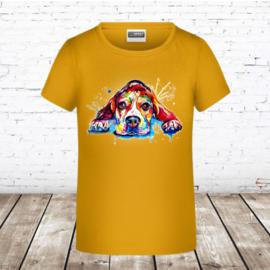 Goudgeel meisjes shirt dog