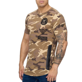 t-shirt heren army bruin eagle 882 S