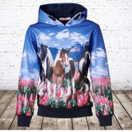 Paarden hoodie blauw f44