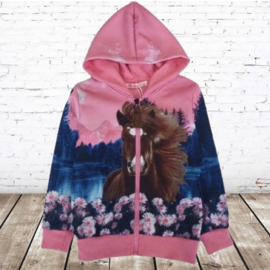 Roze vest met paard en bloemen